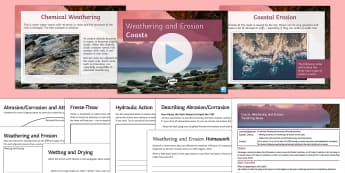 Coasts 2: Weathering and Erosion Lesson Pack - Physical, Landscapes, UK, AQA, GCSE, coasts, erosion, weathering, attrition, abrasion, hydraulic, ac