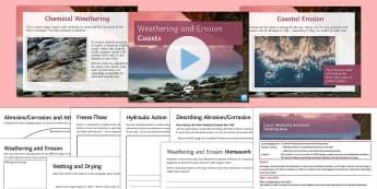 Coasts 2: Weathering and Erosion Lesson Pack - Physical, Landscapes, UK, AQA, GCSE, coasts, erosion, weathering, attrition, abrasion, hydraulic, ac