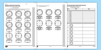 KS2 Reasoning Test Read Write and Convert Time Between Analogue and Digital 12 Hour Clocks Arabic Translation - arabic, eal, reason, key stage 2, ks 2, clock, time, minutes, hours, measure, maths, mathematics, telling, 12