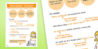 Adverbial Clauses Poster - adverbial, clauses, poster, display