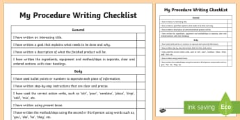 Procedure Writing Student Checklist - Literacy, Procedure Writing Student  Checklist, english, literacy, australia, australian curriculu,