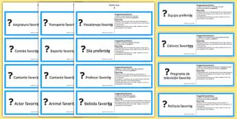 Tarjetas para Practicar Preguntas con Favorito GCSE Spanish - spanish, asking questions, preguntas, practice, speaking, cards, favourite, GCSE Spanish