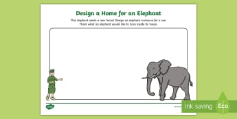Design a Home for an Elephant Activity Sheet  - dublin zoo, elephant, home, zoo, news, habitat, design , worksheet, activity sheet, design, create,