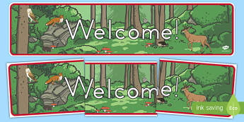 Woodland Creature Welcome Display Banner