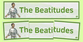 Beatitudes Banner - irish, gaeilge, Beatitudes, Banner, Display, Christianity