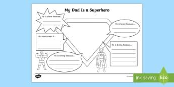 Superhero Dad Activity Sheet - CfE, Father's Day, 18th June, Scottish, Worksheet