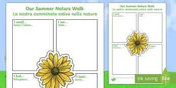 Our Summer Nature Walk Writing Frame - English/Italian - Our Summer Nature Walk Writing Frame - summer, writing, frame, 30 days wild, thirty days wild, summe