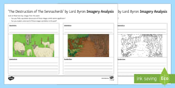 Imagery Analysis Activity Sheet to Support Teaching on 'The Destruction of the Sennacherib' by Lord Byron - GCSE Poetry, Lord Byron, George Gordon Byron, The Romantics, Romantic Poetry, anapaestic tetrameter,
