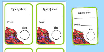 Shoe Shop Role Play Shoe Box Labels - Shoe shop, shoes, role play, shop, trainers, display, poster, shoe box, labels, measuring chart, word cards