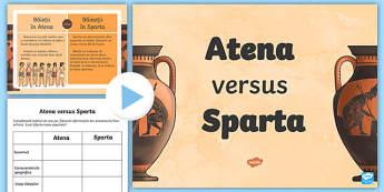 Sparta versus Atena Pachet cu activități - sparta, atena, grecia, antichitate, grecia antica, istorie, epoci istorice, română, fișe, materia