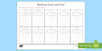 Raindrops Count and Color Activity Sheet - Weather, Rain, Raindrops, Counting, Coloring, Activity Sheet, worksheet, Count and Color Activity sh