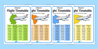 Airport International Flight Timetable - Airport, role play, roleplay, holidays, holiday, flight, timetable, airports, plane, jet, arrivals, departures, pilot, summer, sun, sand