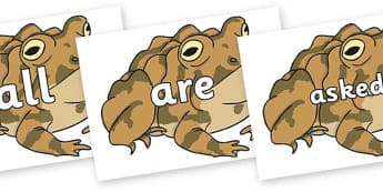 Tricky Words on Toad - Tricky words, DfES Letters and Sounds, Letters and sounds, display, words