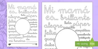 Hoja de colorear: Palabras de descripción - Día de la Madre - día de la madre, madre, mamá, adjetivos, colorear, colorea, colores, color, descripción, describi