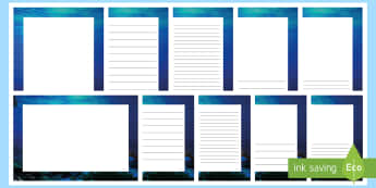 Blue Abyss Page Border Pack - blue abyss, ocean, sea, pages, writing, paper, borders, writing frame, water