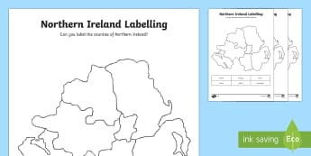 Northern Ireland Labelling Activity Sheet - Northern Ireland UK Lesson Teaching Pack - united kingdom, UK, teeach, Irland, fewer, derry, workshe