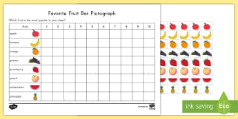 Favorite Fruit Pictograph Activity Sheet - food, healthy, measurement,data, picture graph, worksheet