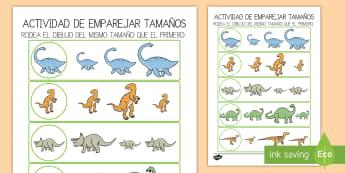 Ficha de actividad: Emparejar tamaños - Dinosaurios - Dinosaurios, pre-historia, dinos, tiranosaurio, estegosaurio, triceratops, proyectos, aprendizaje ba