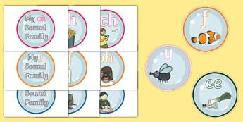 Sound Families on Bubbles - sound families, bubbles, sound, family, pronunciation, display