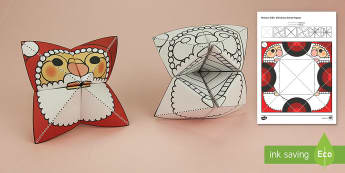 Simple 3D Christmas Santa Fortune Teller Puppet Paper Craft - xmas, craft, paper, Christmas, father christmas, saint nicholas, make, origami