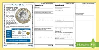 UKS2 The New £1 Coin Tricky Maths Activity Sheets - new £1, £1, pound, pound coin, coin, £1 coin, coins, new coin, geometry, triangles, angles, radiu