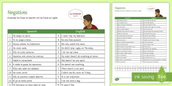 Spanish Negatives Match-Up Activity Sheet Spanish  - Spanish, Grammar, negatives, match, up, worksheet, activity, sheet, worksheet, negative, structures,