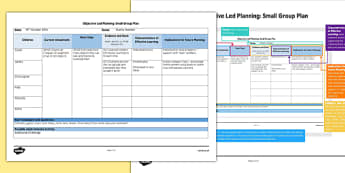 Small Group Objective Led Planning Template - class, safety, health, ideas, writing, guide, plan, eyfs, early years, ks1, key stage, small, little, differentiated, assistant,
