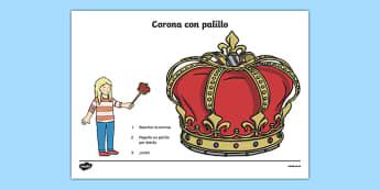 Corona con palillo-Spanish