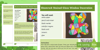 Shamrock Stained-Glass Window Step-by-Step Instructions - ROI, St. Patrick's Day Resources, Ireland, shamrock, Saint Patrick's Day, stained glass window, ar