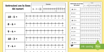 Sottrazioni con la linea dei numeri fino a 10 Attività - sottrazioni, operazioni, italiano, italian, materiale, scolastico, matematica, elementari