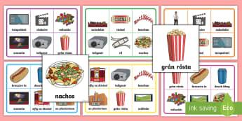 An Phictiúrlann Bingo Gaeilge  - Gaeilge, Bingo, Games, Irish,vocabulary, foclóir, cinema, an phictiúrlann,Irish