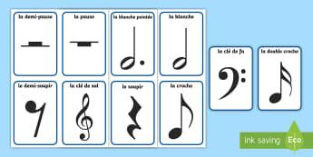 Flashcards :  La représentation des durées en musique - FR Musique KS1 (Music),French