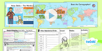 PlanIt - Geography Year 2 - Magical Mapping Lesson 4: Atlas Skills The World Lesson Pack - maps, planning, geography, year 2, y 2, ks1, key stage 1, plans, lessons, lesson, unit, pack, 2014, curriculum, maps