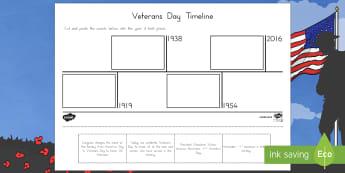 Veterans Day Timeline Activity Sheet