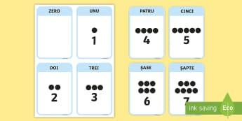 Numerele de la 0 la 10 - Cartonașe - 0-10, numere, numerație, numără, matematică, cifre, jocuri. materiale, ,Romanian