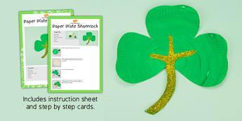 Paper Plate Shamrock Craft Instructions - craft, paper plate, shamrock, instructions