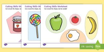 Food Themed Cutting Skills Worksheets - cut, fine motor skills