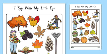 Autumn Themed I Spy With My Little Eye Activity - nz, new zealand, season, weather