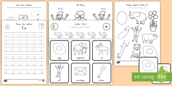 Letter E Activity Pack - Alphabet Packets, EYFS, KS1, Letter Formation, Letter Identification, Beginning Sound, Short E, Lett