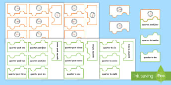 Quarter Past and Quarter To Times Analog Clock Jigsaw Puzzle Activity - Measurement, measures, telling the time, o'clock times, to the hour, o'clock, clock, time, KS1, an