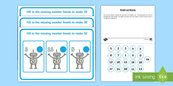 Workstation Pack Robot Number Bonds to 20 Activity Pack - number bonds, workstation, TEACCH, independent work, maths, p scales, 20