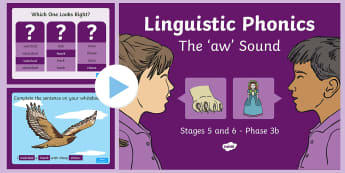 Linguistic Phonics Stage 5 and 6 Phase 3b, 'aw' Sound PowerPoint