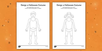 Design a Halloween Costume Activity Sheet - Design a Halloween Costume Worksheet, costume, design, worksheet, sheet, your own, Halloween, pumpkin, witch, bat, scary, black cat, mummy, grave stone, cauldron, broomstick, haunted house, potion, Hallowe'