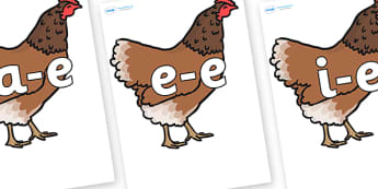 Modifying E Letters on Hen - Modifying E, letters, modify, Phase 5, Phase five, alternative spellings for phonemes, DfES letters and Sounds