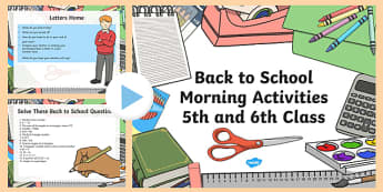 Back to School Morning Activities 5th and 6th Class 1 Week PowerPoint-Irish