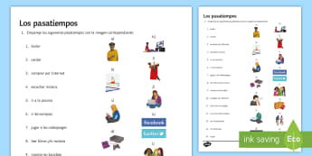 Hobbies and Free Time Activities Matching Activity Sheet Spanish - Spanish, Vocabulary, free time, hobbies, activity, sheet, worksheet, matching, worksheet