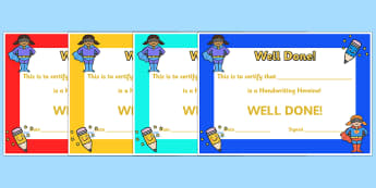 Handwriting Hero Certificate - handwriting, writing, certificate, award, well done, reward, hero, handwriting hero, special, literacy