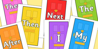Sentence Starters on Doors - Sentence starter, writing sentences, vocabulary, writing aid, how to start a sentence, the, next, there