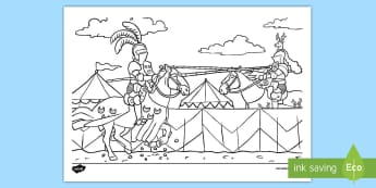 Jousting Colouring Page - ks1, EYFS,  castle, history, motor skills, colouring, jousting, knights, horses, medieval,