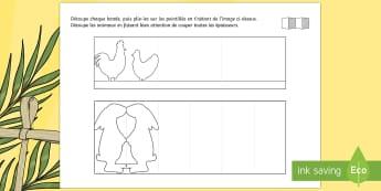Découpages : Guirlandes de Pâques - arts plastiques, découpage, pâques, lapin, poule, easter, guirlande, décoration,French